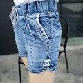 jeans women Light blue Large size denim shorts fat sister elastic waist  mid waist jeans moustache effect spandex cotton 4XL