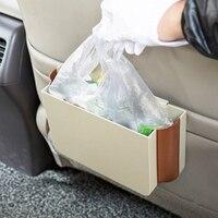E SHOW Car Folding Trash Can Box Hanging Phone Holder Storage Box Rubbish Bin Car Interior