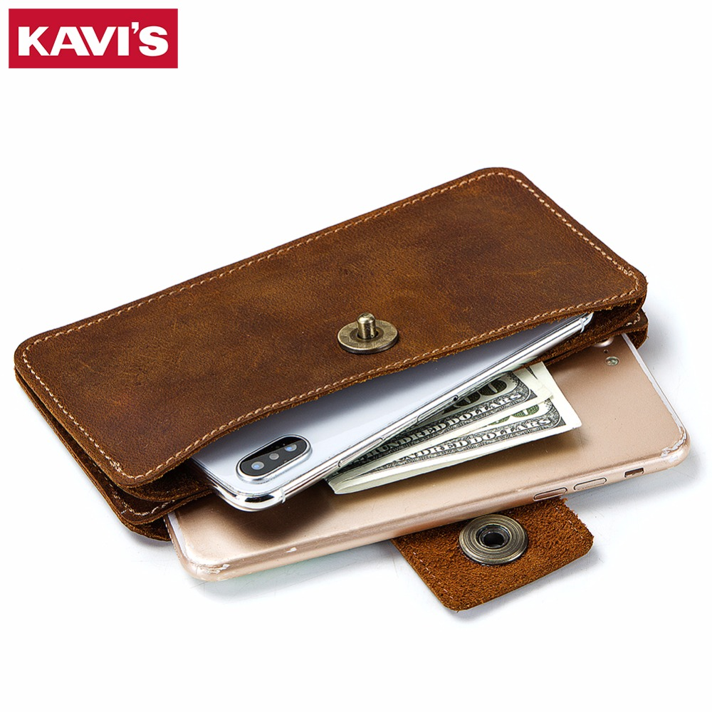 KAVIS 2018 Organizer Genuine Leather Phone Bag Men Wallet Clutch Brand Wallet Male Cell Phone Clutch Bag Long Coin Purse Hasp