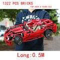 1322 PCS bricks1: 10 GTB para mais de 8 anos de idade Blocos auto-travamento bricks Compatíveis com Lego Racers Ferrari 599 GTB Fiorano 8145