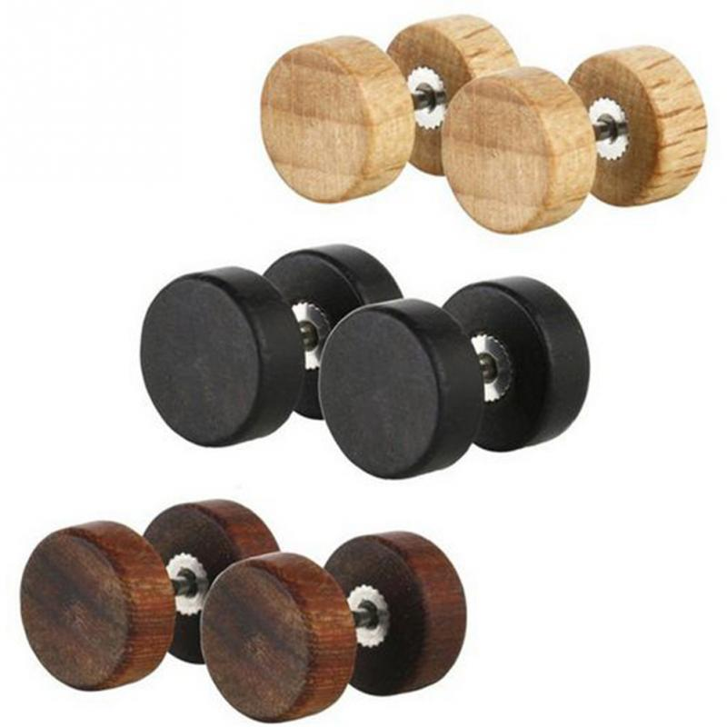 Fashion Gothic Punk Wood Stud <font><b>Earrings</b></font> Barbell Double Side Round <font><b>Earrings</b></font> <font><b>For</b></font> Women <font><b>Men</b></font> image