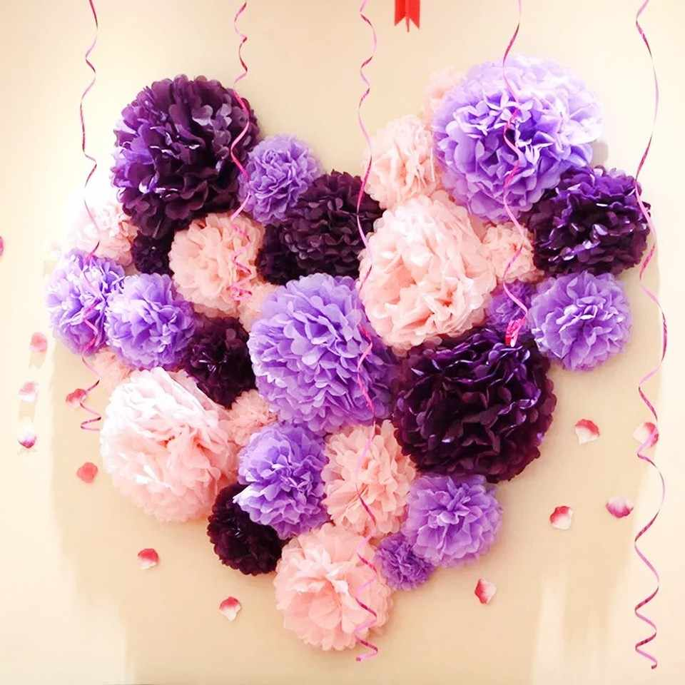 4 6 8 10 12 Diy Tissue Paper Pom Poms For Wedding Ball Pompoms Birthday Party Baby Shower Supplies Wedding Home Decoration