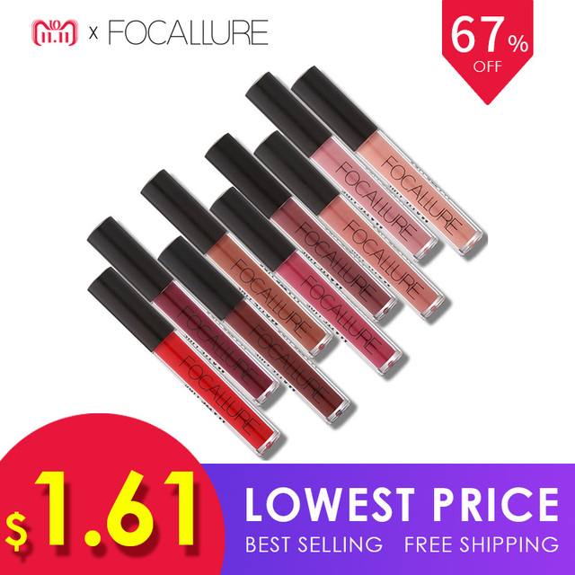 FOCALLURE Waterproof Matte Liquid Lipstick Moisturizer Smooth Lip Stick Long Lasting Lip Gloss Cosmetic Beauty Makeup