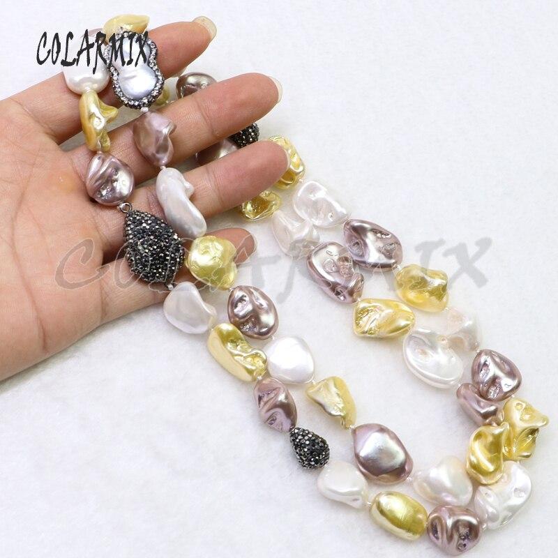 3 hebras collar de perlas naturales collar de cuentas mezcla de colores con piedra de perla chapada druzy collar gemas joyería para mujeres 6041    2