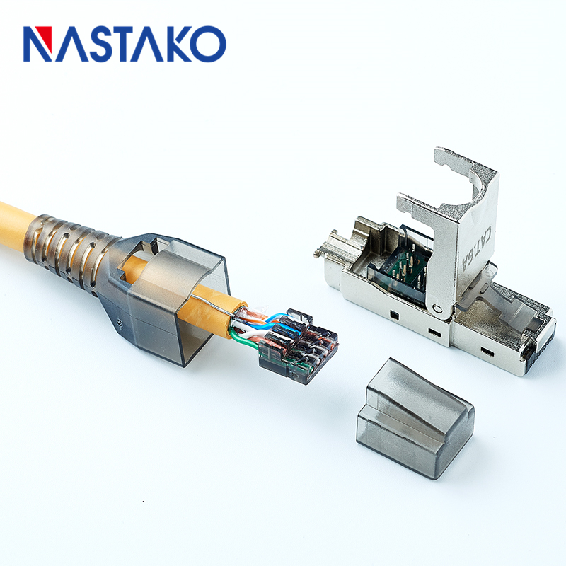 Tool-less RJ45 Cat6A STP Shielded modular Plug RJ45 Termination Connector for Cat6 Cat 6A Cat5e 23-24AWG Solid Network Cable
