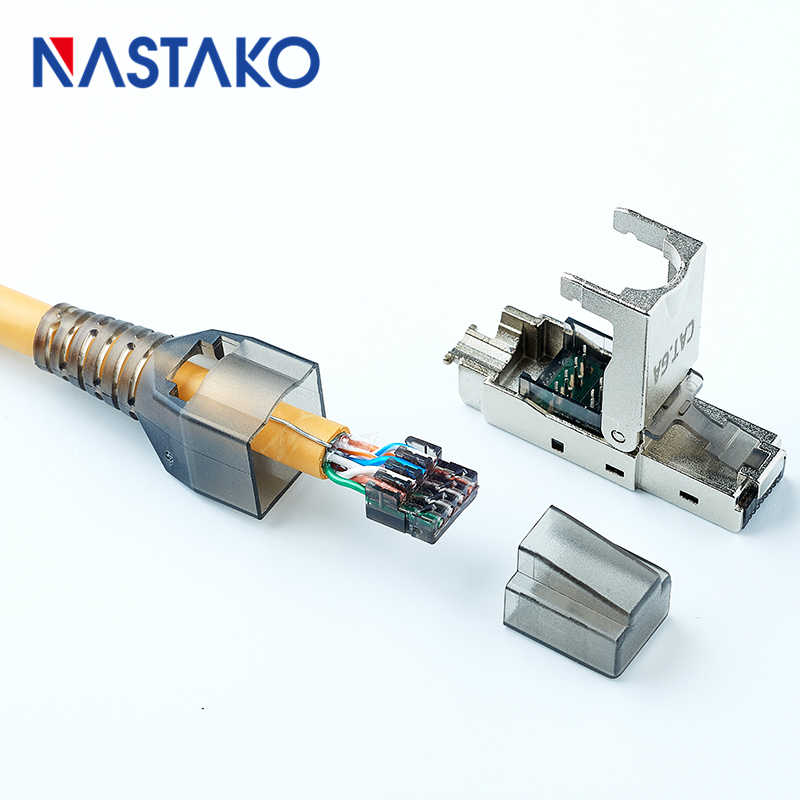tool-less rj45 cat6a stp shielded modular plug rj45 termination  connector for cat6 cat 6a