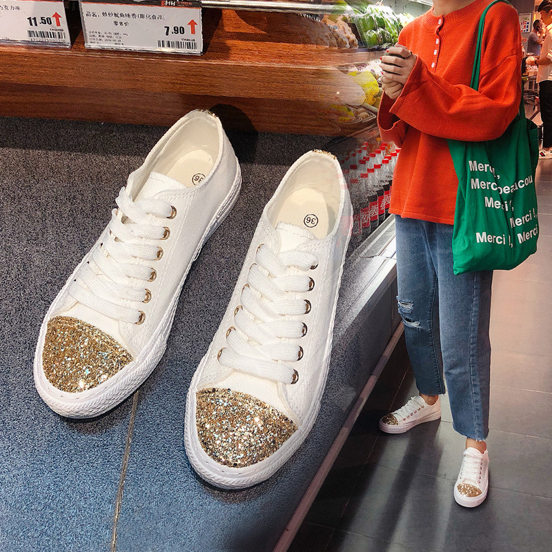Simple and comfortable fashion canvas shoes sequins and sewing line decoration student casual shoes Korean girls flat shoes in Women 39 s Vulcanize Shoes from Shoes