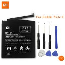 XiaoMi Batteries de téléphone portable dorigine pour Xiaomi Redmi Note 4 Hongmi Note4 BN41 4000 mAh batterie de remplacement + outils