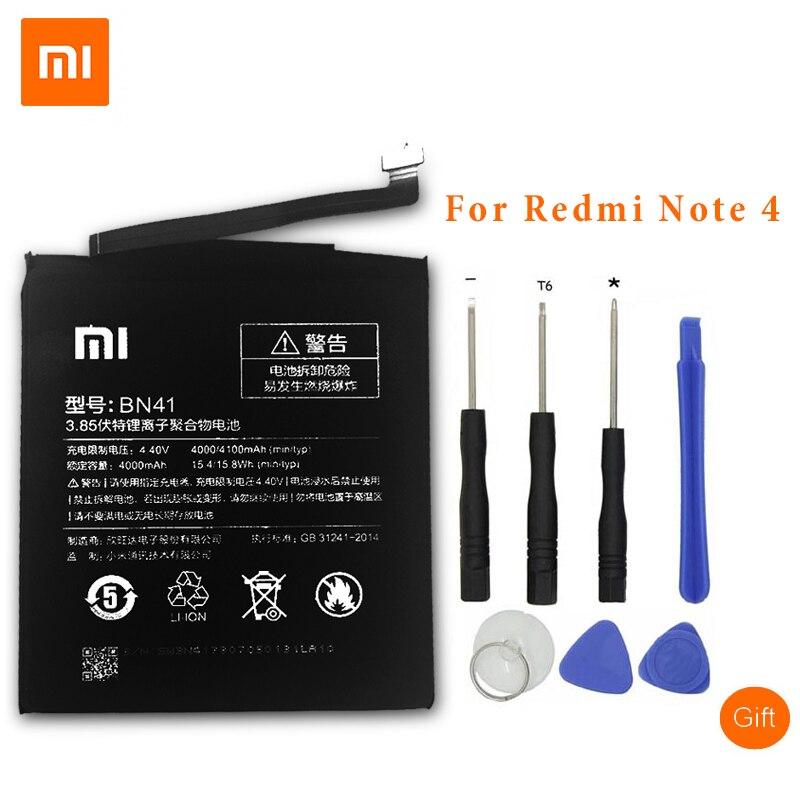 XiaoMi D'origine Mobile Téléphone Batteries Pour Xiaomi Redmi Note 4 Hongmi Note4 BN41 4000 mAh Batterie De Remplacement + Outils