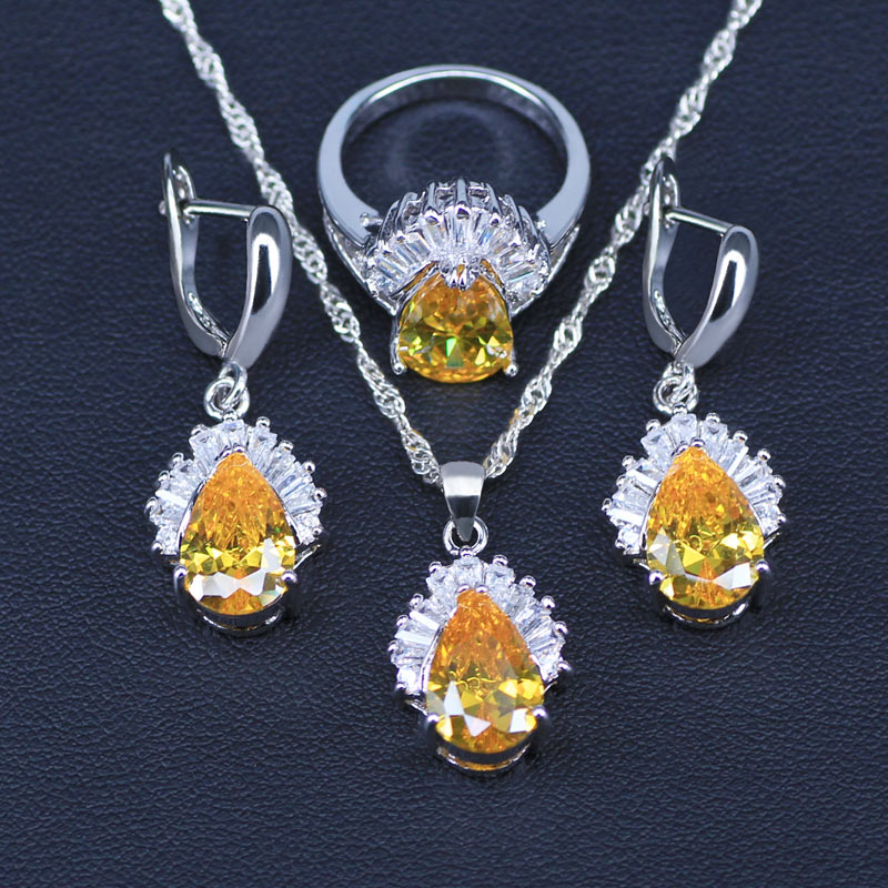 Sparking Yellow Jewelry Sets Water Drop Cubic Zirconia CZ Stone 925 Sterling Silver Necklace Earrings Necklaces Finger Rings