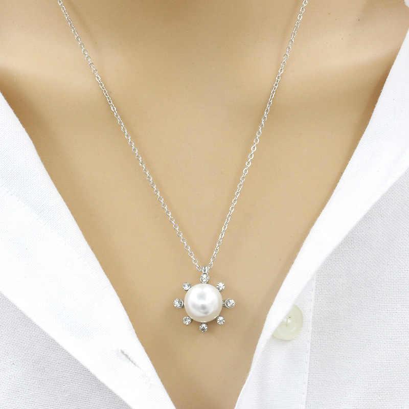 Biały symulowane Pearl koralik 8 błyszczące kryształ dynda słońce kwiat złoty srebrny Choker naszyjnik dla kobiet