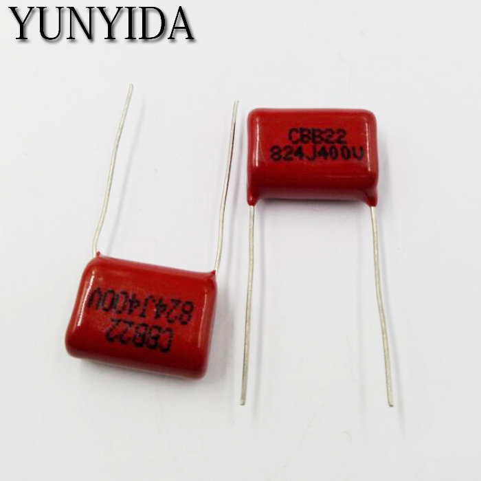 Free Shipping 10pcs, CBB 824J  400V  0.82UF 824NF P20mm  Metallized Film Capacitor  400V824J  824  400V