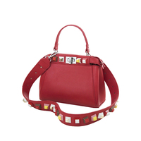 KEYTREND Women Leather Handbags Fashion Shell Color Rivet Shoulder Bags Lock Strap Totes Crossbody Shopping Bag
