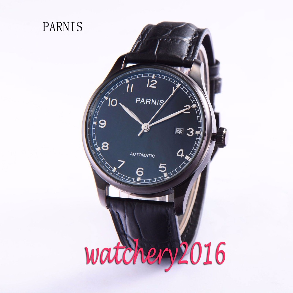 New 43mm Parnis Black Pvd Case Black Dial date adjust wrist watches with date for men Automatic Movement Men's Watch все цены