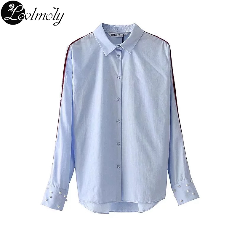 5ed0ebf53a8 Levlmoly Womens Spring Beading Blouse and Shirts Female Blusas Women s  Light Blue Shirt 2018 17DEMSD7948