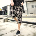 2017 design men's knitted plaid pants Harem trousers new autumn and winter seven low leisure pants