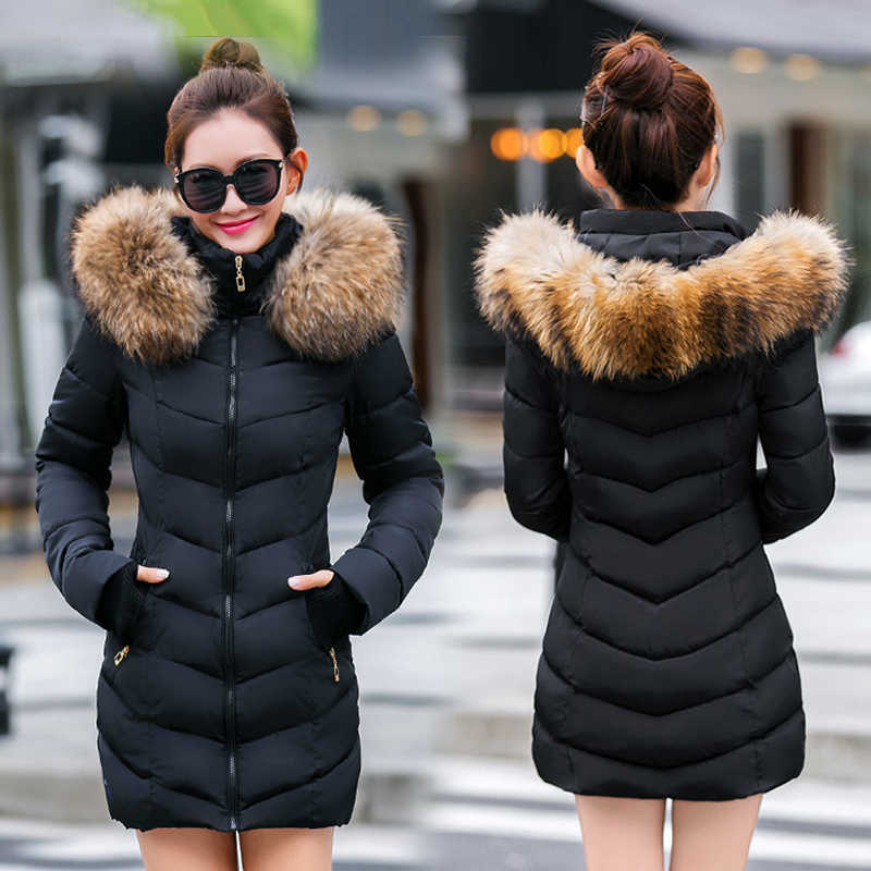Chaqueta de invierno de las mujeres 2019 nueva parka mujer abrigo de invierno engrosamiento de algodón prendas de vestir de piel de zorro casacos de inverno feminino