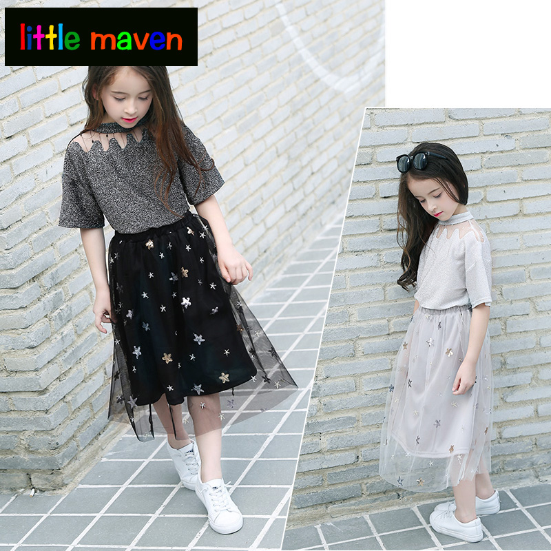 Baby Girl Clothes Teenage Girls Clothing Summer Sets Tracksuit for Girl Clothes 2pcs Bling T shirt + Sequins Mesh Skirts Stars