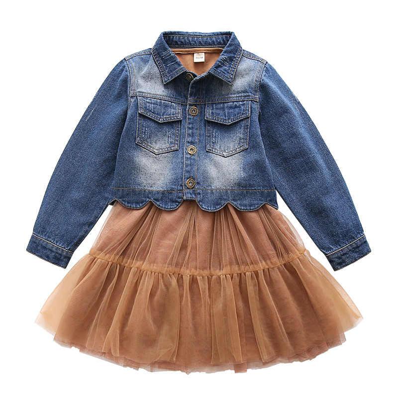 2018 новая стильная весенняя одежда для маленьких девочек комплекты повседневной одежды для девочек из 2 предметов джинсовые куртки + платье без рукавов vetement fille 13 14