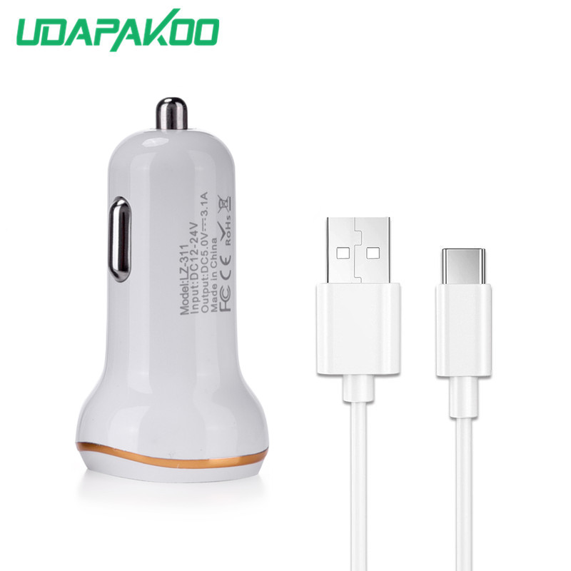Car Chargers Usb Type-c Cable For Sony Xa1 Plus/xa1 Xa2 Ultra/l1/l2 Google Pixel 2 Xl Zte Nubia Z11 Z17 Minis Let Our Commodities Go To The World Special Section Dual Usb Car Charger Adapter