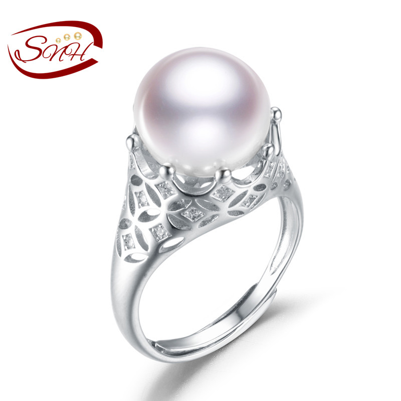 цены SNH Crown shape Real Natural Freshwater White Pearl Rings For Girlfriend Women Adjustable 925 Sterling Silver