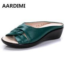 Plus la taille 35-43 casual chaussures en cuir véritable femme d'été solide femmes pantoufles de mode 4 couleurs cales sandales femmes flip flops