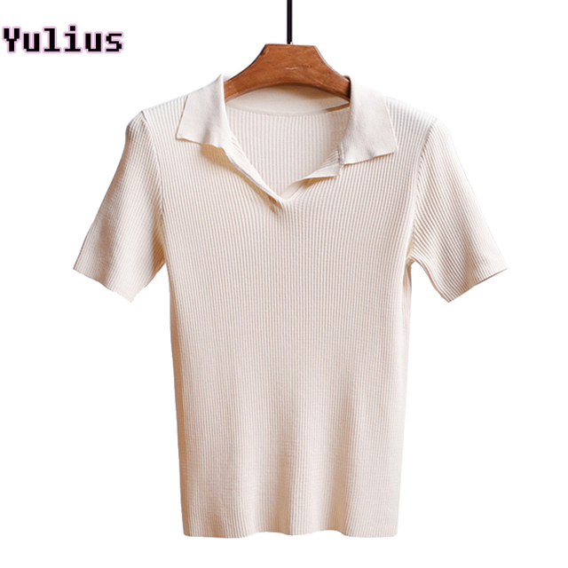 2017 Casual Female Short Sleeve Knitwear Polo Shirts Summer V Neck