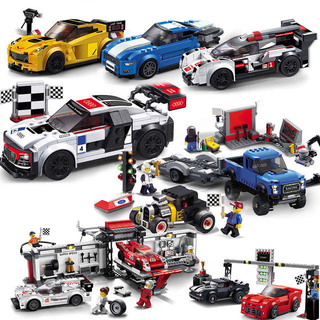 Decool City series racer speed champion car sets building blocks children brick toys compatible legoed repair station Pickup F1