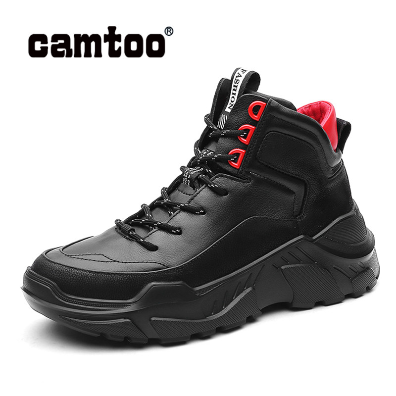 CAMTOO New Men Shoes Genuine Leather Chunky Sneakers Platform Man Casual Shoes Fashion Black Footwear  Lace Up Zapatos De Hombre
