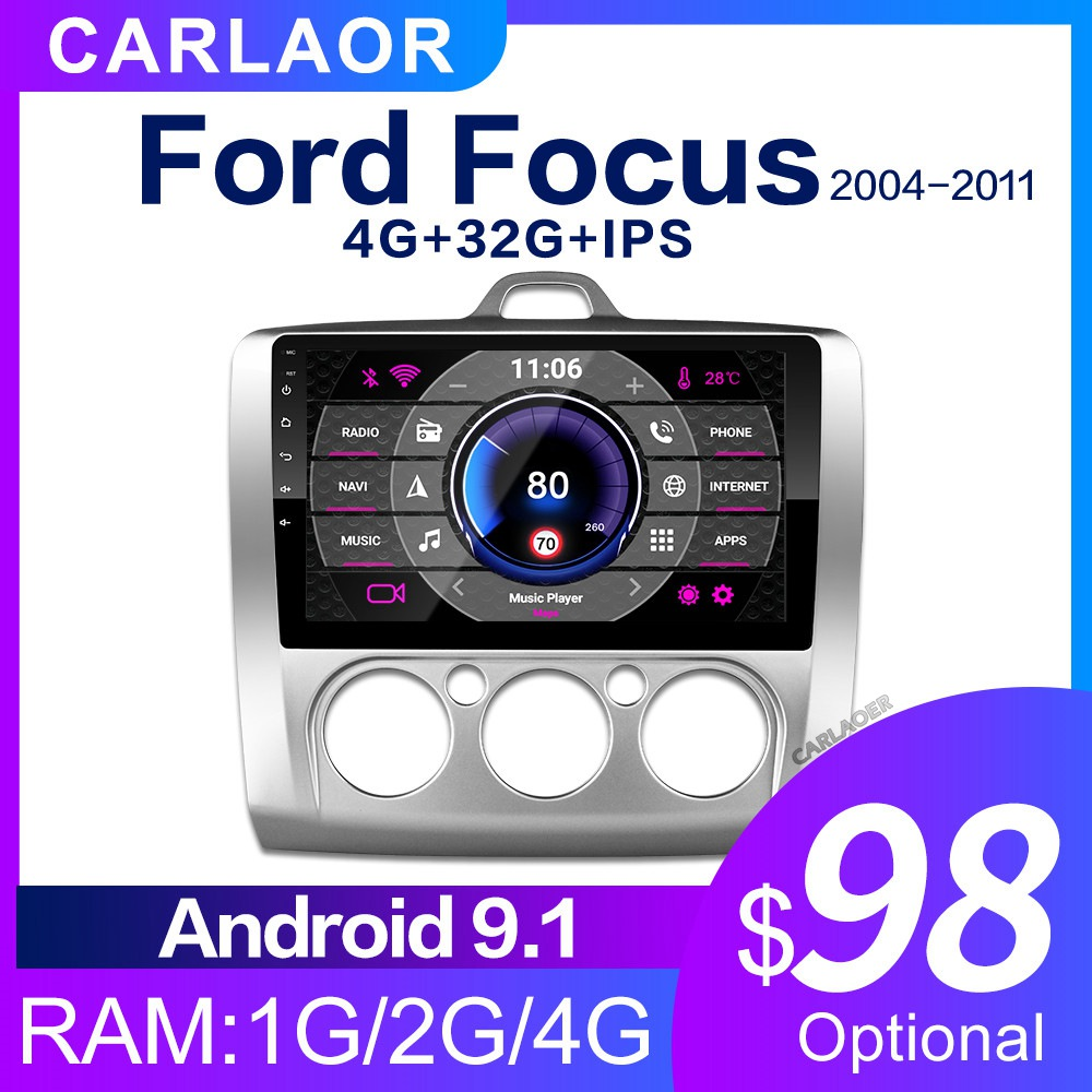 2 DIN 9 Inch Android 8.1 GPS Navigation Touchscreen Quad-core Car Radio For Ford Focus