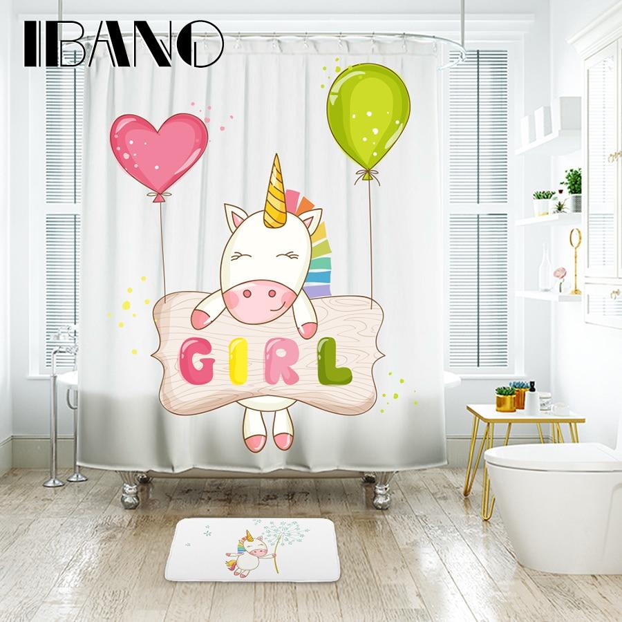 Ibano Cute Girl Unicorn Land Shower Curtain Waterproof Polyester