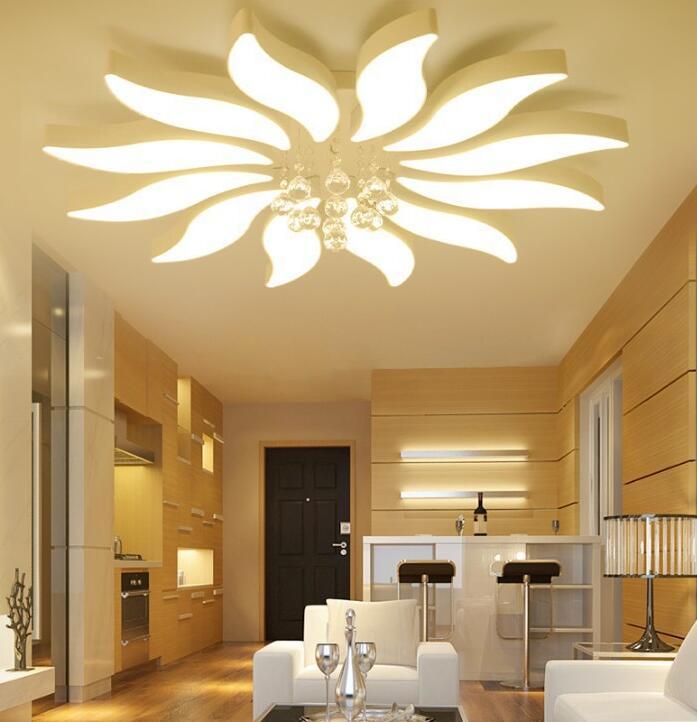 US $428.12 56% OFF|New round living room lamp Petal master bedroom lamp  hall led ceiling lamp modern lighting simple living room headlights led-in  ...