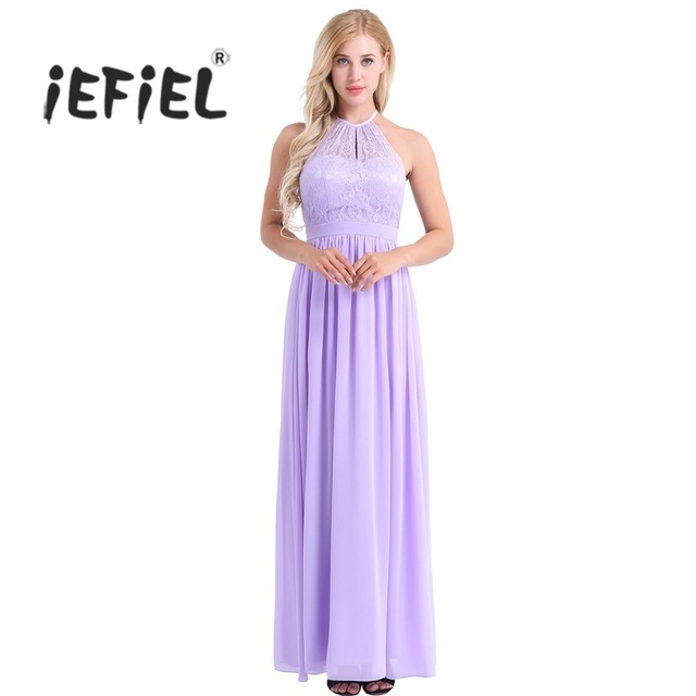 ebb824928ac Women Ladies High Neckline Halter Lace Floral Sleeveless A-line Chiffon Dress  Graduation Evening Birthday