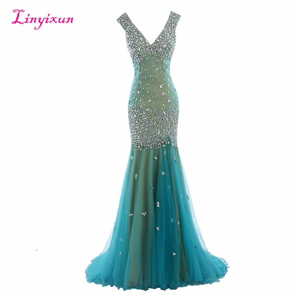 Linyixun Real Photo 2017 New Prom Dresses See Through Sexy Luxury Beaded Crystal Long V-Neck Backless Formal Evening Gowns