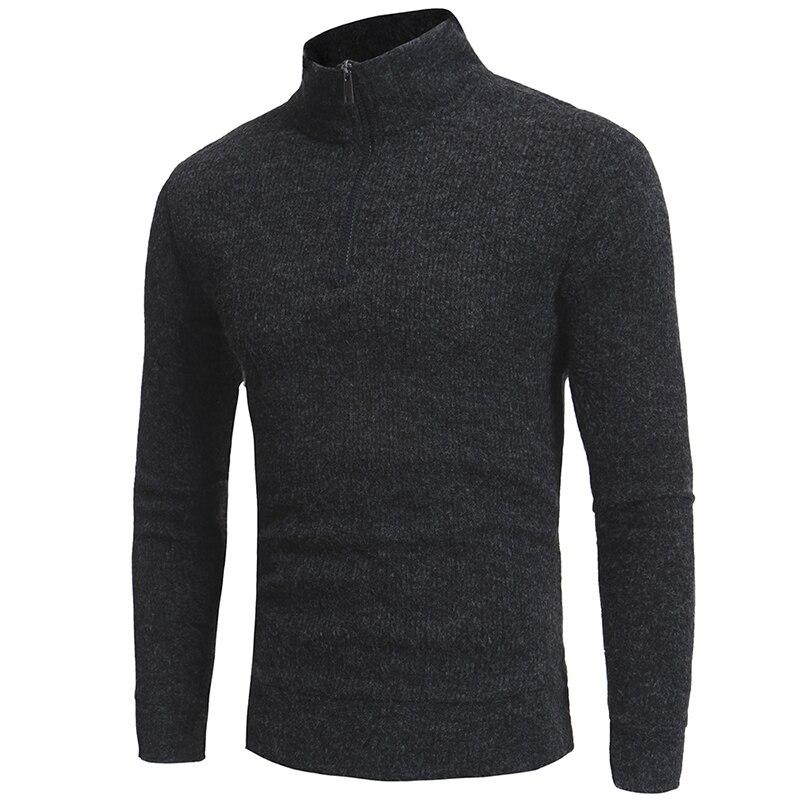 Sweater Pullover Men 2017 Male Brand Casual Slim Sweaters Men Semi High Zipper Collar Design Hedging