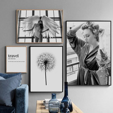 Afflatus Monroe Dandelion Black White Angel Girl Travel Quotes Wall Art Canvas Painting Nordic Posters And Prints Pictures