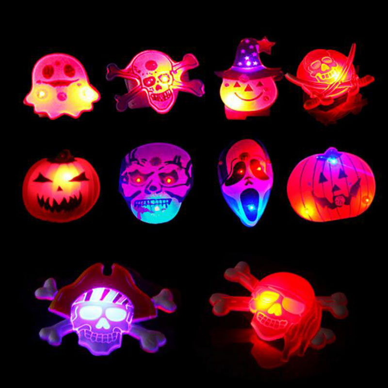 Creative 10pcs/lot Flashing Badges Backpack Halloween Decoration Anime Icons Pin Badge Pumpkin Skull Fluorescent Badges For Clothes Aesthetic Appearance Apparel Sewing & Fabric