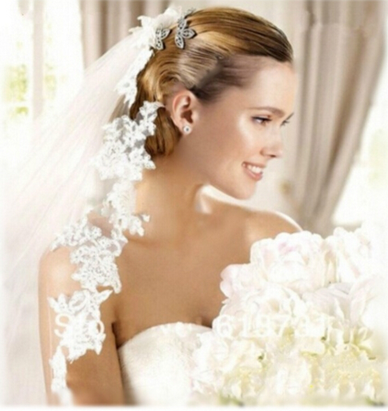 2018 New White/Ivory Wedding Veil 5m Long Comb Lace Mantilla Cathedral Bridal Veil Wedding Accessories Veu De Noiva Real Photos