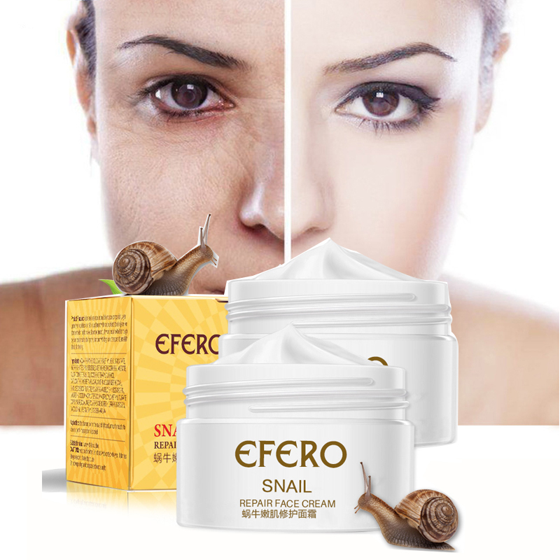 Efero Snail Cream Moisturizing Face Cream Snail Repair Anti Aging Essence Face Whitening Cream Wrinkles Firming Skin Care TSLM1