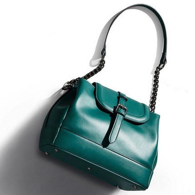 ФОТО High Quality Genuine Leather Designer Silver Lock Handbags Famous Brand Women Leather Handbags Top Layer Cow Leather Bucket Bag