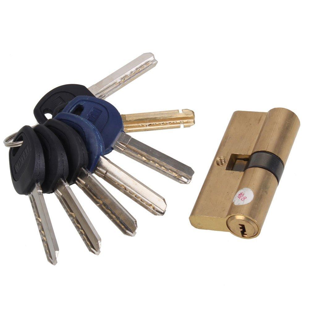 Thumb Turn Euro Profile Cylinder Barrel 5 Pin Lock Brass Satin Nickel Finish 65mm(32.5x32.5mm) With 7 KeysThumb Turn Euro Profile Cylinder Barrel 5 Pin Lock Brass Satin Nickel Finish 65mm(32.5x32.5mm) With 7 Keys