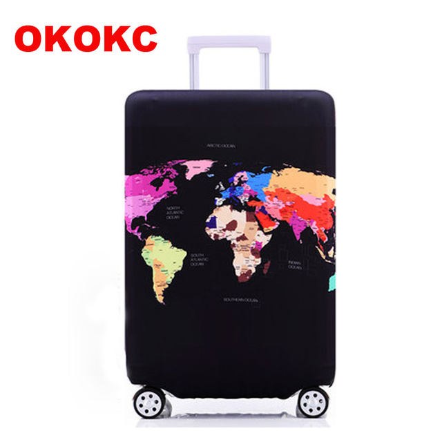 Online shop okokc world map elastic thick luggage cover for trunk okokc world map elastic thick luggage cover for trunk case apply to 18 32 suitcasesuitcase protective cover travel accessor gumiabroncs Image collections