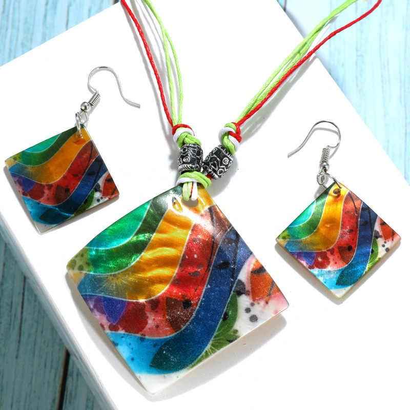 ZOSHI Bohemian Enamel Cowrie Conch Shell Pendant Necklace Set For Women Fashion Ocean Sea Beach Jewelry Boho Shell Jewelry Set