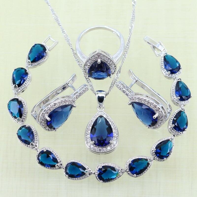 a1b1f72cc149 Click here to Buy Now!! Reginababy Argent couleur Bleu Strass Blanc zircon  Bracelets Ensembles de Bijoux Pour Femmes Boucles D