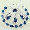 Reginababy cor Prata lab criado Blue Sapphire Branco Topázio Pulseiras Conjuntos de Jóias Para As Mulheres Brincos/Anel/Pendente