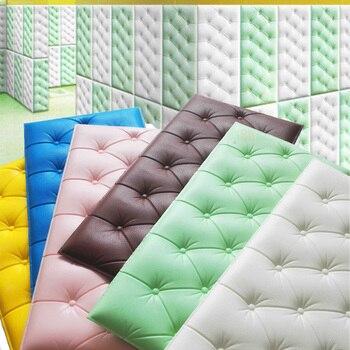 4Pcs Faux Leather PE Foam Waterproof Self Adhesive Wallpaper For Living Room Bedroom Kids Room Nursery Home Decor 3D Wall Paper