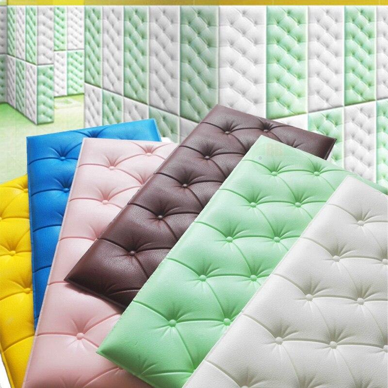 Papel pintado autoadhesivo impermeable de espuma de PE de cuero de imitación 4 Uds para sala de estar dormitorio niños habitación infantil decoración para el hogar papel de pared en 3D