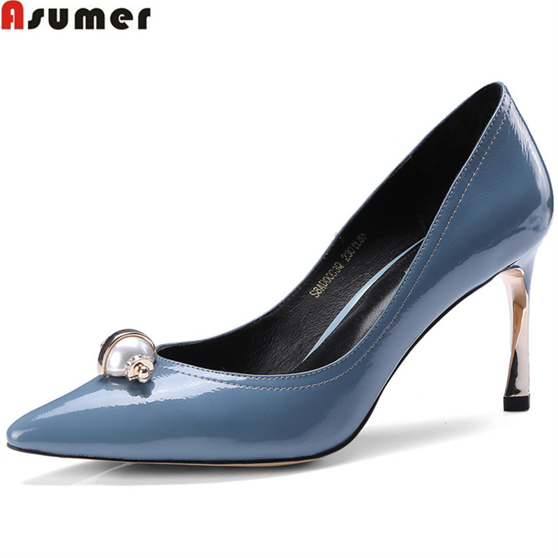 ASUMER blue brown shallow spring autumn shoes woman  pointed toe thin heel wedding shoes women high heels shoes spring autumn shoes woman pointed toe metal buckle shallow 11 plus size thick heels shoes sexy career super high heel shoes