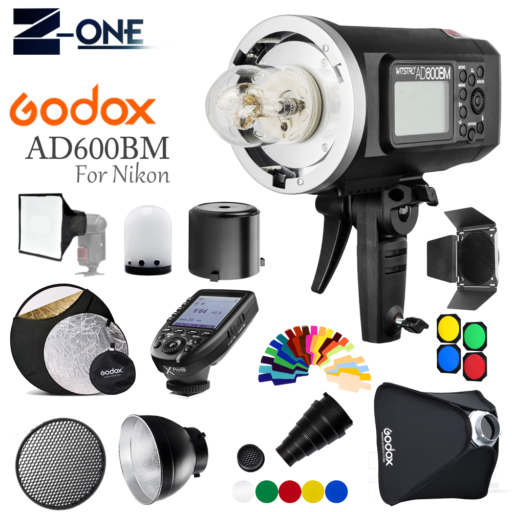 <font><b>Godox</b></font> <font><b>AD600BM</b></font> Outdoor Flash 600Ws GN87 1/8000 HSS Bowens Mount W/ XPRO-N Wireless Trigger+ Barn Door For Nikon Cameras +Gift kit image