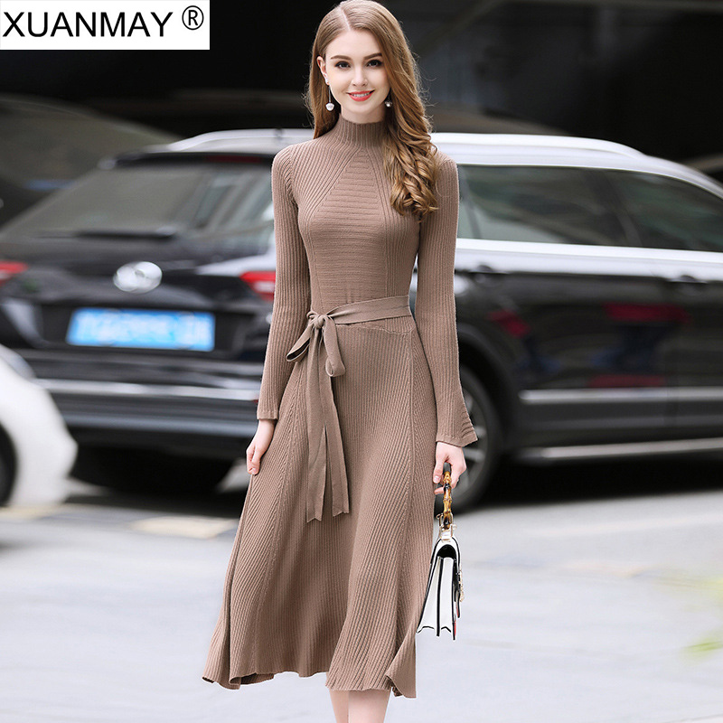 Spring long-sleeved dress Elegant lady Round neck Bright red Sweater dress fashion elegant England style Long style dress